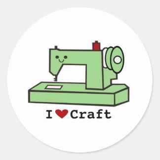 Jag älskar den HantverkKawaii symaskinen Runt Klistermärke