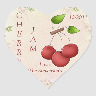 Jag älskar den körsbärsröda syltburketiketten hjärtformat klistermärke