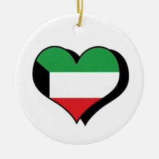 Jag älskar den Kuwait flaggaprydnaden Julgransprydnad Keramik