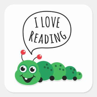 Jag älskar den läs- bokmalen fyrkantigt klistermärke