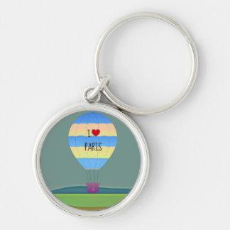 Jag älskar den Paris luftballongen Rund Silverfärgad Nyckelring
