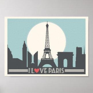 Jag älskar den Paris vintage affisch