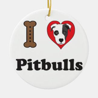 Jag älskar den Pitbulls prydnaden Julgransprydnad Keramik