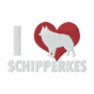 Jag älskar den Schipperkes broderade skjortan (vin Broderade Luvtröjor