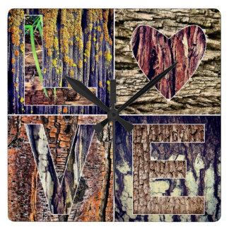 Jag älskar den Wood väggen tar tid på Fyrkantig Klocka