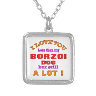 Jag älskar dig Borzoihunden Halsband Med Fyrkantigt Hängsmycke