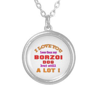 Jag älskar dig Borzoihunden Halsband Med Rund Hängsmycke