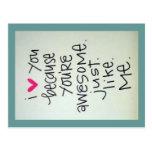 Jag älskar dig, därför att du är den enorma vykort