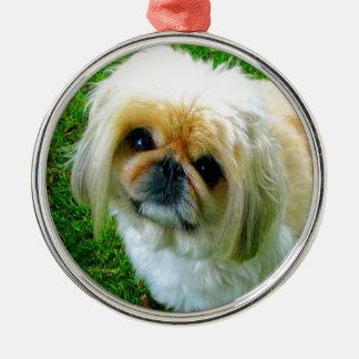Jag älskar dig den pekingese hunden för mamman julgransprydnad metall