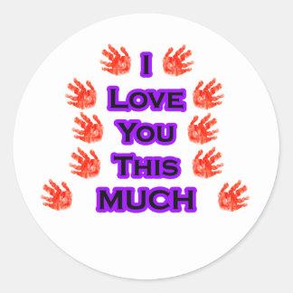 Jag älskar dig denna MYCKET Svart-LargestPurple Runda Klistermärken