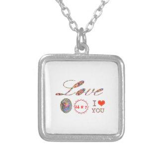 Jag älskar DIG - en gåva av uttryckt för alla Silverpläterat Halsband
