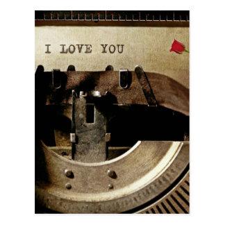 Jag älskar dig, gammalt brev för skrivmaskinsröd vykort
