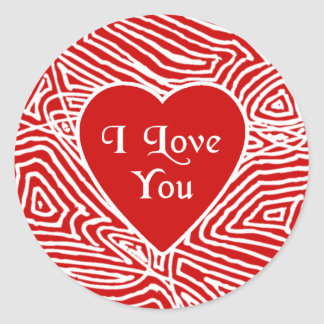 Jag älskar dig hjärtaklistermärkear runt klistermärke
