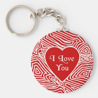 Jag älskar dig hjärtnyckelringen rund nyckelring