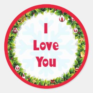 Jag älskar dig jul runt klistermärke