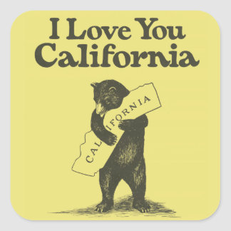Jag älskar dig Kalifornien Fyrkantigt Klistermärke