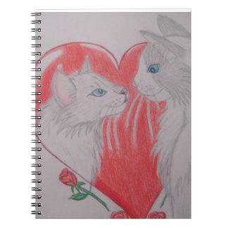 Jag älskar dig katter anteckningsbok med spiral