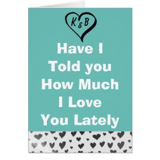 Jag älskar dig krickan med silverhjärtakortet hälsningskort