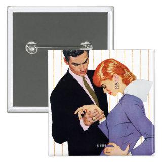 Jag älskar dig, mammaflicka 2 standard kanpp fyrkantig 5.1 cm