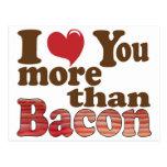 Jag älskar dig mer än bacon vykort