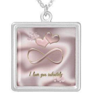 Jag älskar dig oändligt valentin hjärtor för silverpläterat halsband
