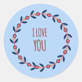 Jag älskar dig som är röd, och blåttkranen runt klistermärke