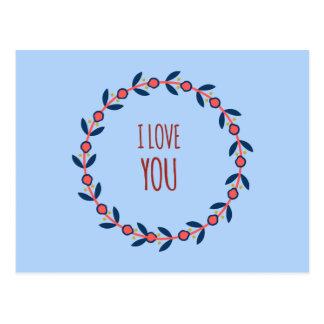 Jag älskar dig som är röd, och blåttkranen vykort