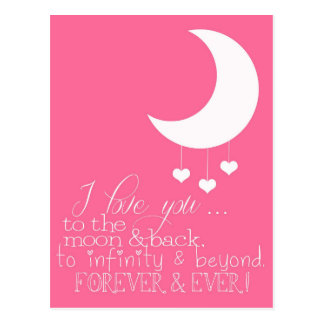 Jag älskar dig till månen & den tillbaka vykortet vykort