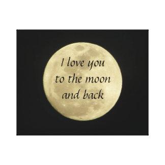 Jag älskar dig till månen och den tillbaka canvastryck