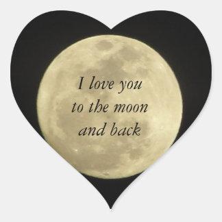 Jag älskar dig till månen och den tillbaka hjärtformat klistermärke