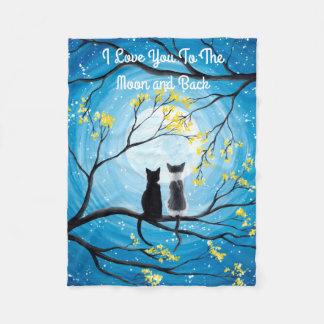 Jag älskar dig till månen och den tillbaka katten fleecefilt