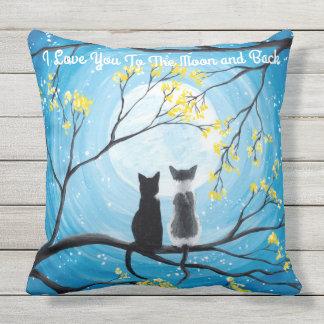 Jag älskar dig till månen och den tillbaka katten kudde