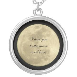Jag älskar dig till månen och det tillbaka silverpläterat halsband