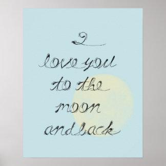 Jag älskar dig till månen och drar tillbaka poster