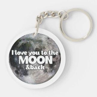 Jag älskar dig till månen och drar tillbaka dubbelsidigt rund akryl nyckelring
