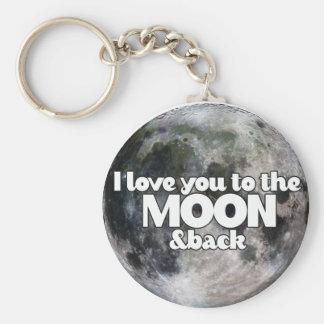 Jag älskar dig till månen och drar tillbaka rund nyckelring
