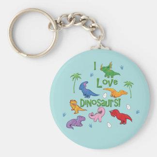 Jag älskar Dinosaurs! (Gulligt) Rund Nyckelring