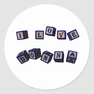 Jag älskar Donna leksakkvarter i blått Runt Klistermärke