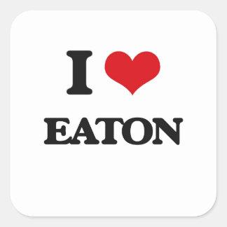 Jag älskar Eaton Fyrkantigt Klistermärke