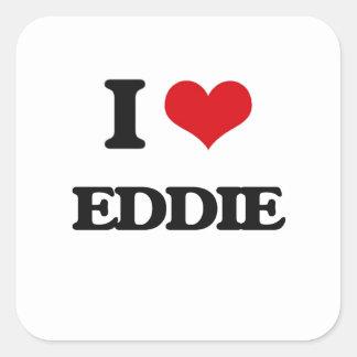 Jag älskar Eddie Fyrkantigt Klistermärke