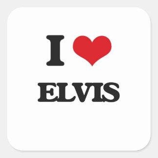 Jag älskar Elvis Fyrkantigt Klistermärke