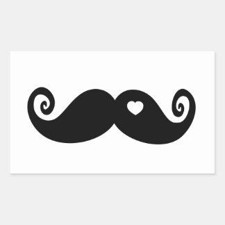 Jag älskar enkelt moustachen rektangulärt klistermärke