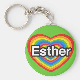 Jag älskar Esther. Jag älskar dig Esther. Hjärta Rund Nyckelring
