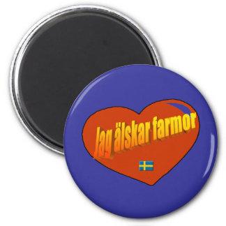 Jag Alskar Farmor Magnet Rund 5.7 Cm
