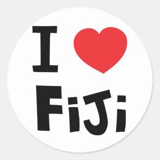 Jag älskar Fiji Runt Klistermärke