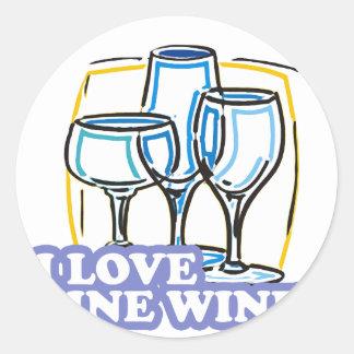 Jag älskar fint vinbravin runt klistermärke