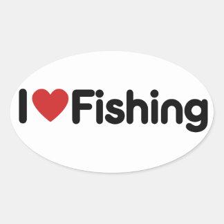 Jag älskar fiske ovalt klistermärke