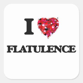 Jag älskar Flatulence Fyrkantigt Klistermärke