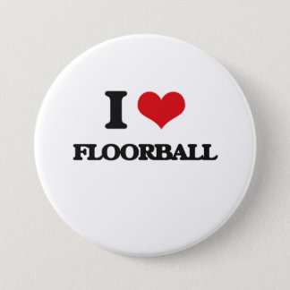 Jag älskar Floorball Mellanstor Knapp Rund 7.6 Cm