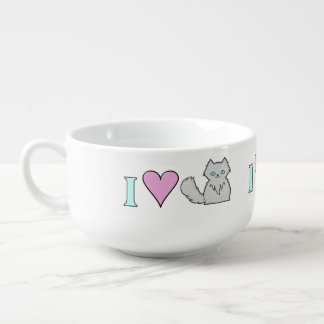 Jag älskar fluffiga vitkattungar mugg för soppa